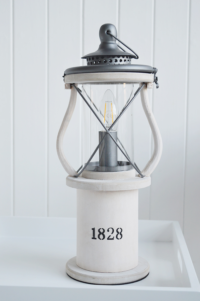 Lewiston white Vintage Lantern table lamp for New England coastal, city and country home interiors from The White Lighthouse Furniture for the hallway, living room, bedroom and bathroom