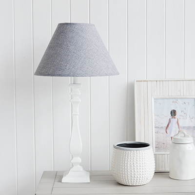 Ludlow white wooden Lamp from The White Lighthouse Furniture. A lovely table lamp for bedside table or living room or bedroom furniture. New England style table lamps for country, coastal, city and farmhouse styled homes