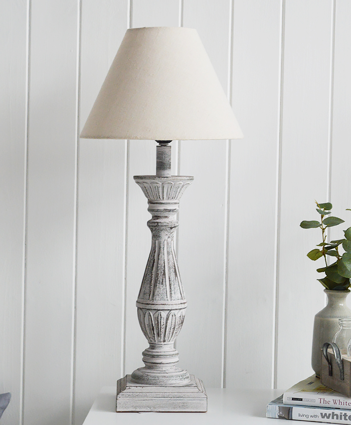 Lyon rustic grey and pink table lamp