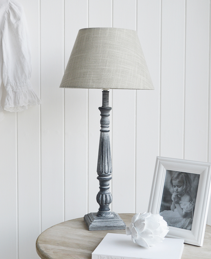 Regency Tall Grey Table Lamp - The White Lighthouse Furniture Lamps and Lighting