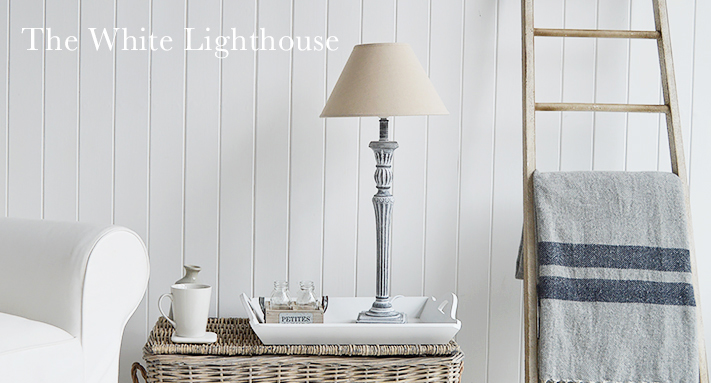 Regency Tall Grey Table Lamp - The White Lighthouse Furniture Lamps and Lighting for hall, living rooms and bedrooms