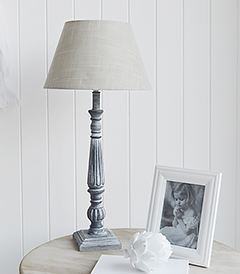 Grey and white tall regency table lamp