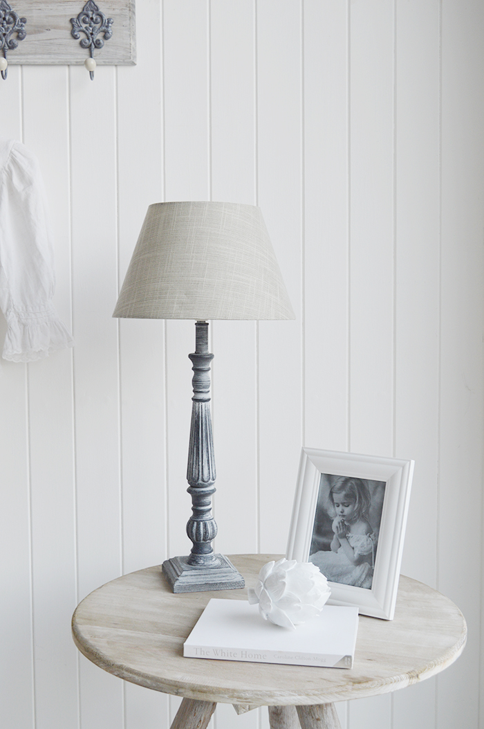 Regency Tall White and Grey Table Lamp - The White Lighthouse Furniture Lamps