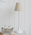 White small bedside table lamp
