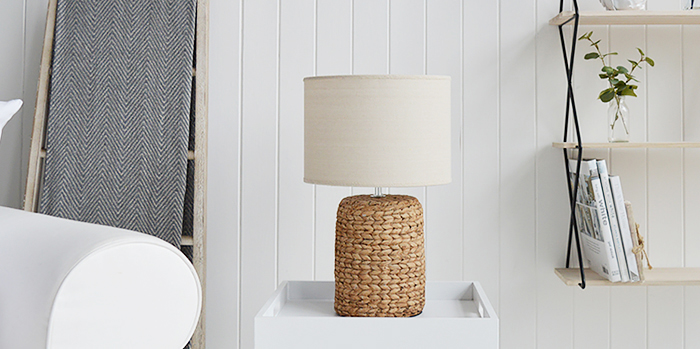 Coastal table lamp with rope effect base for New England living room furniture