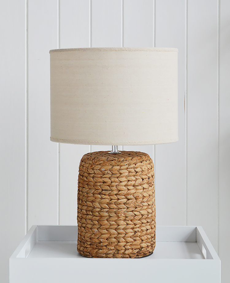 Coastal table lamp with rope effect base for bedside table