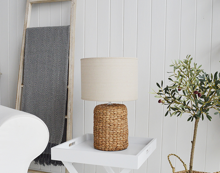 Coastal table lamp with rope effect base for living room furniture