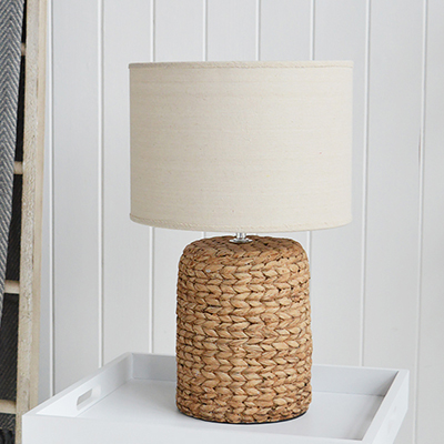 Coastal rope effect table lamps for homes by the sea