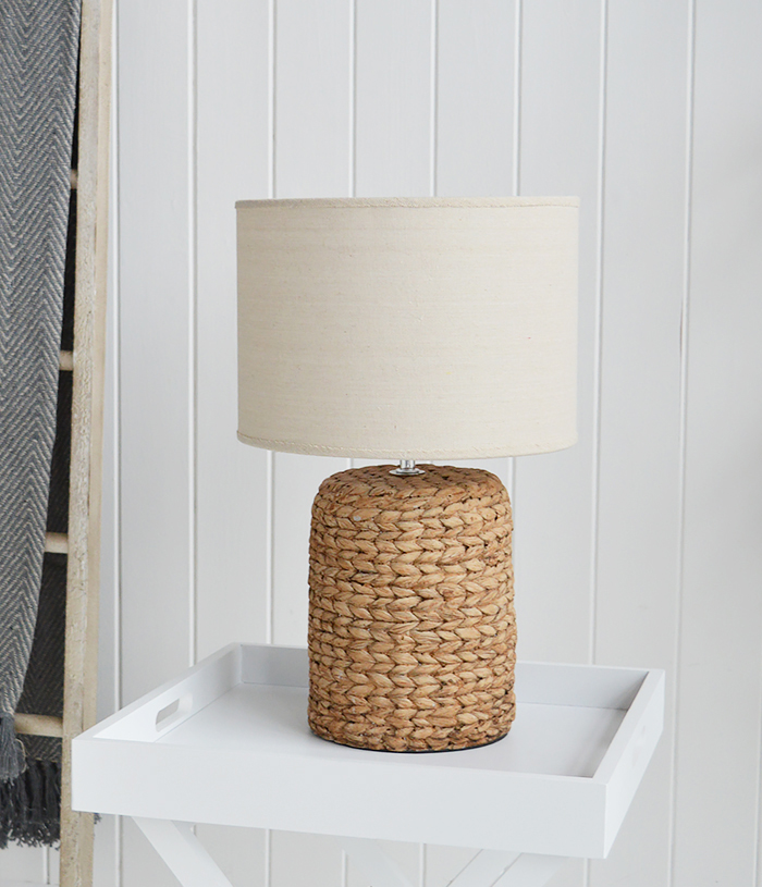 Coastal table lamp with rope effect base for living room