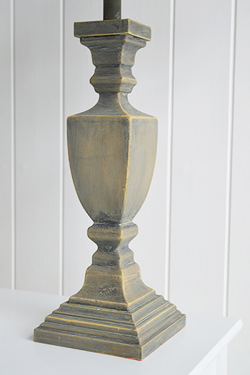 grey wooden twist table lamp the white lighthouse. Black Bedroom Furniture Sets. Home Design Ideas