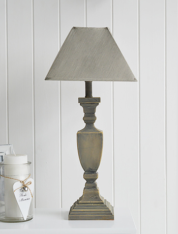 Grey Wooden Twist Table Lamp