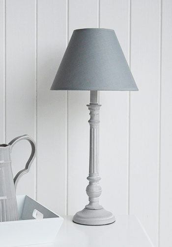 Grey Wooden Ribbed Bedside Table Lamp The White Lighthouse