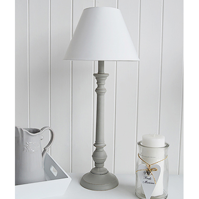 Grey and white table lamp, relaxing and calming interiors