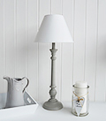 Grey and white table lamp