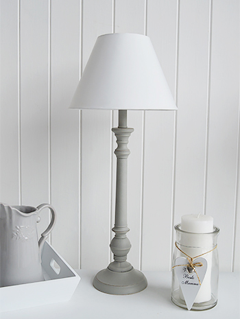 White and grey table lamp for bedside or living room furniture