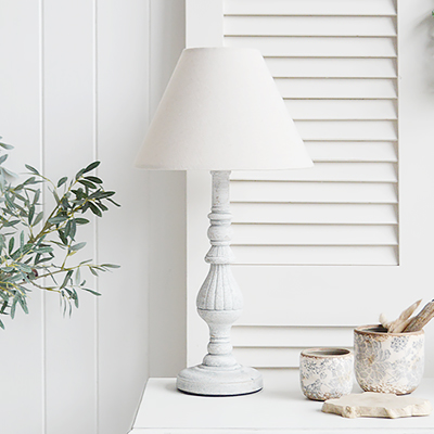 La Maison rustic table lamp to add character to a New England home