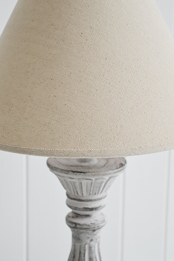 Lyon rustic grey and pink table lamp with linen shade