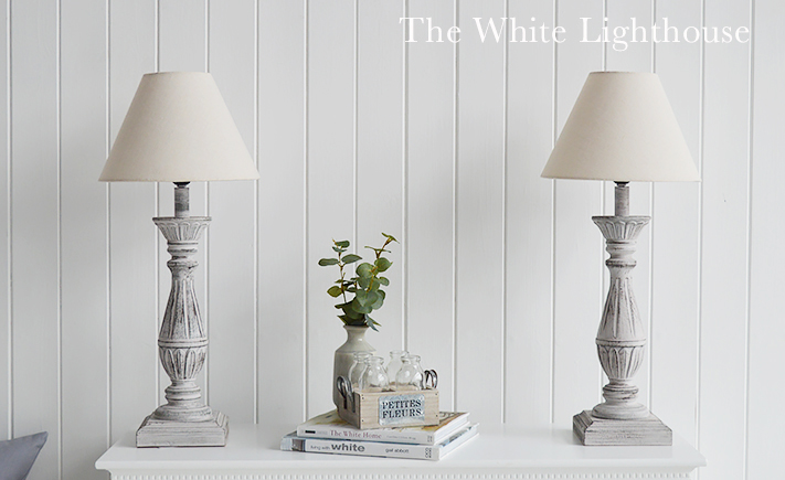 The Lyon grey and pink rustic table lamp with linen natural cream shade from The White Lighthouse Furniture