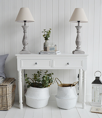 New england white home decor and lamps