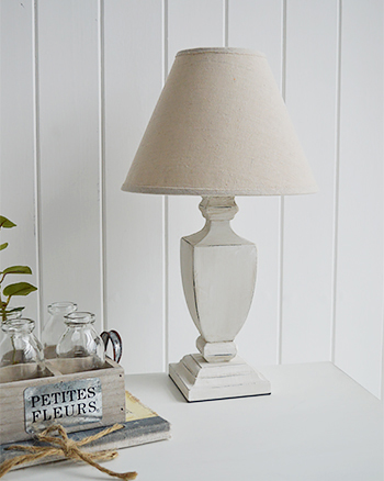 Providence antique white bedside table lamp for coastal bedroom interiors