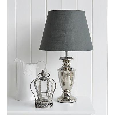 The stunning Kensington table lamp with dark grey fabric shade and polished urn shapped base.