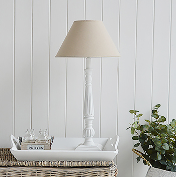White and grey table lamps from The White Lighthouse Lighting