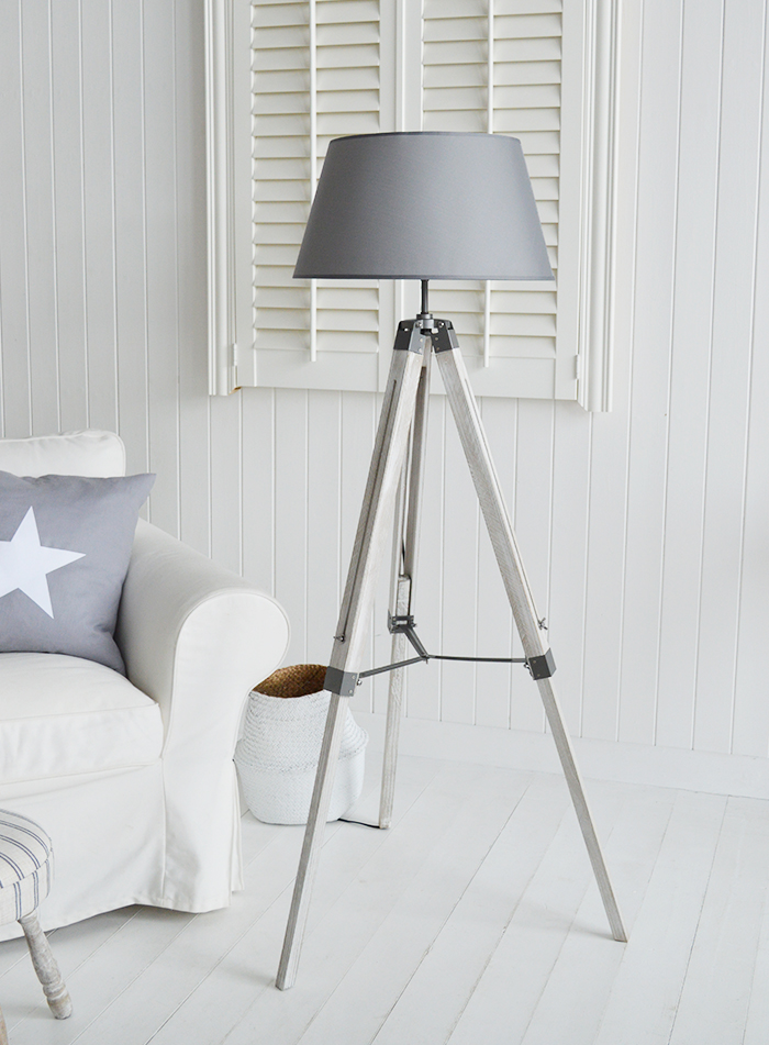 Grey Lexington floor lamp for New England, Country and coastal home interior from The White Lighthouse Furniture and Home Decor