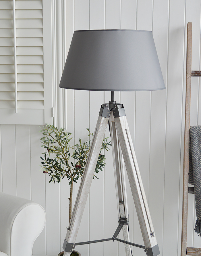 Grey Lexington floor lamp for New England, Country and coastal interiors