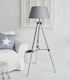 Grey Lexington Floor lamp from The White Lighthouse Furniture for New England, coastal and country interior designs