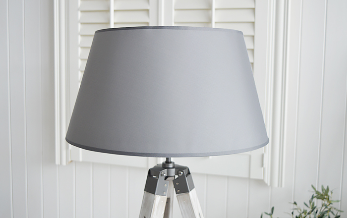 Grey Lexington floor lamp for New England, Country and coastal home interiors