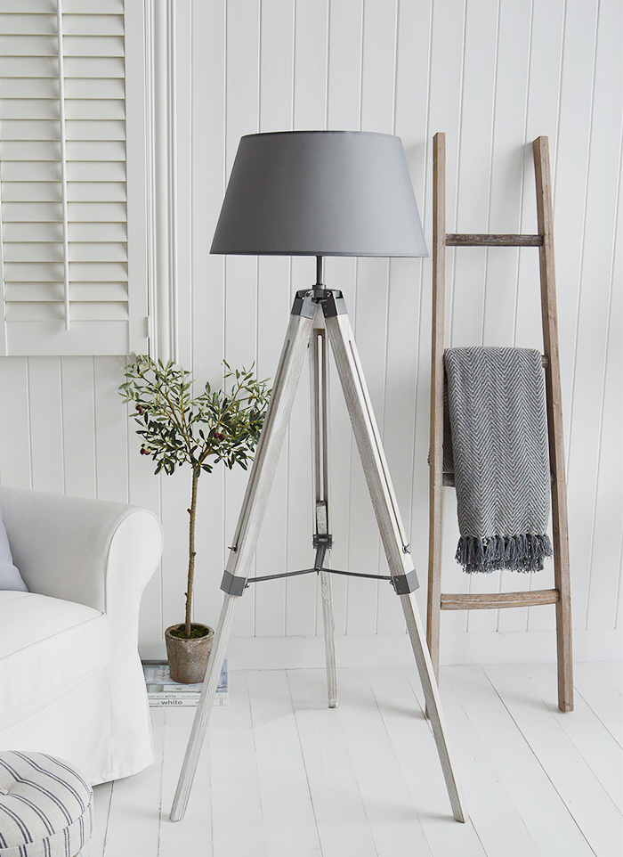 Grey Lexington tripod floor lamp