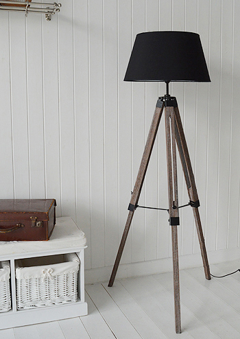 Tripod Floor Standing Lamp With Black Shade The White