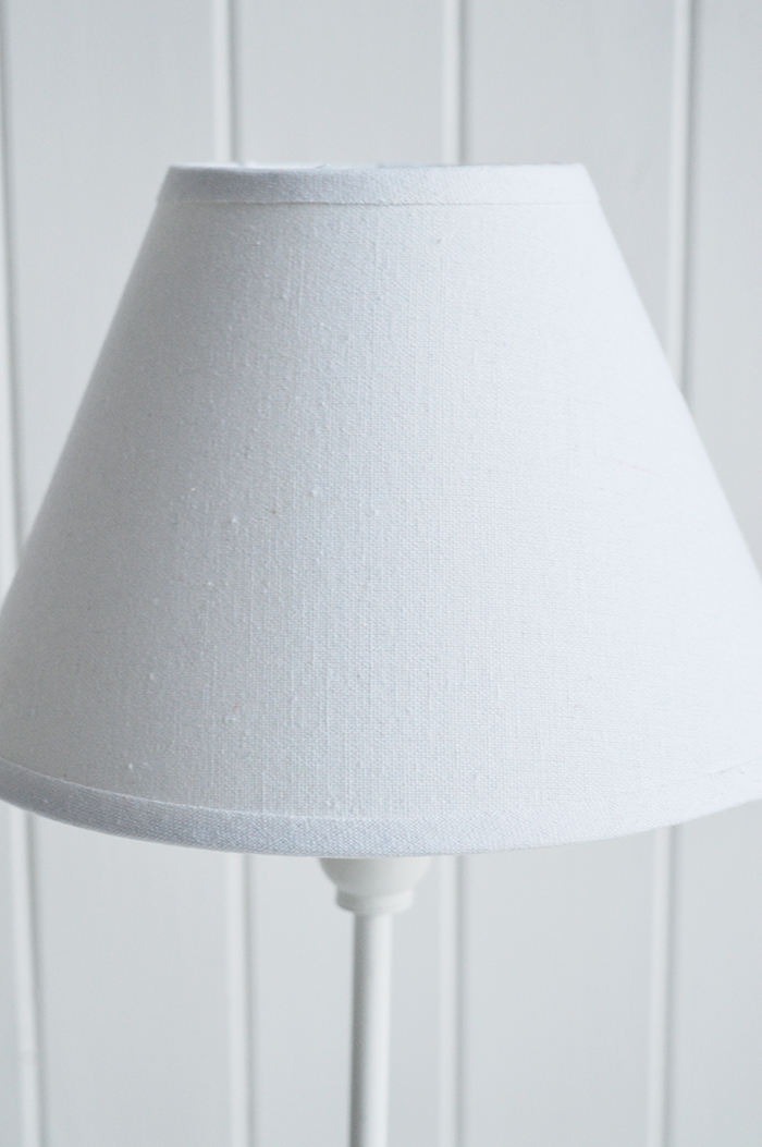 Hartford small white bedside table lamp for white home interiors and furniture
