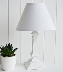 Hartford White small bedside table lamp
