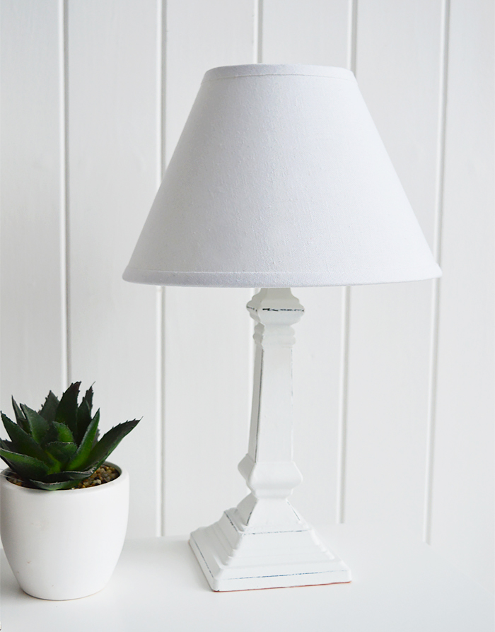 Hartford small white bedside table lamp