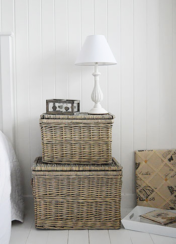 Windsor Baskets with lids as bedside table