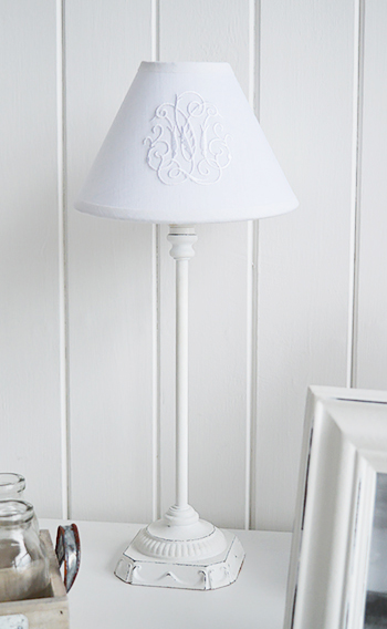 White bedside lamp with shade the white lighthouse white bedside table lamp aloadofball Image collections