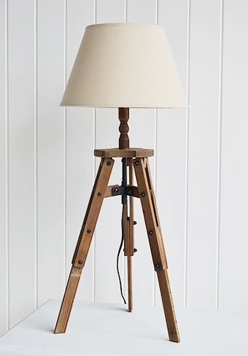 wooden tripod table lamp with white shade the white lighthouse. Black Bedroom Furniture Sets. Home Design Ideas