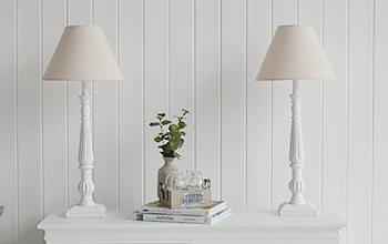 Pair of tall white table lamps for living room furniture