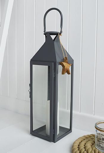 Grey Hurricane Lantern With Star The White Lighthouse