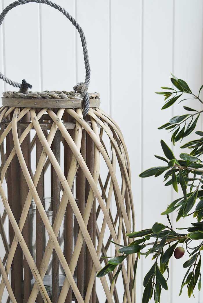 Extra large tall willow lantern from The White Lighthouse for Coastal Country and White furniture in New England style interiors for hallway, living room, bedroom and bathroom