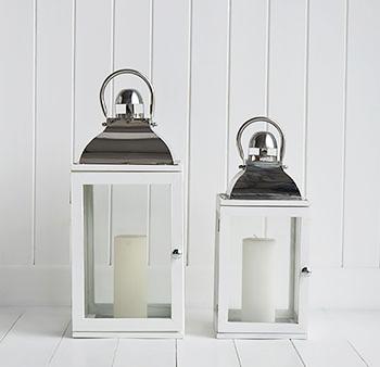 White Hurricane Lantern The White Lighthouse Accessories