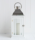 Large whie and wood lantern
