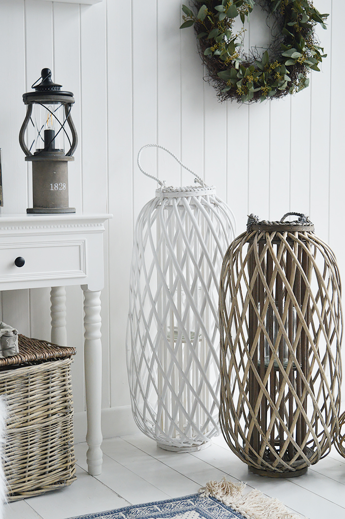 Extra tall white willow lantern for New Engalnd country, coastal and City Interiors from The White Lighthouse Furniture