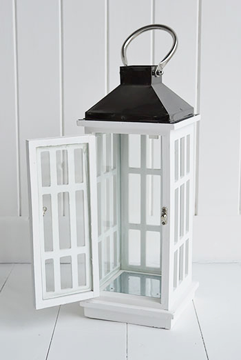 White lantern for coastal and cottage interiors