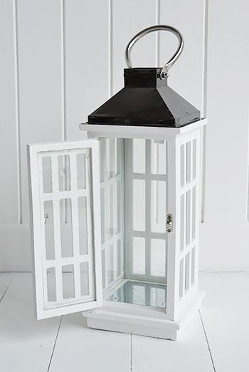 White lantern for coastal and cottage interiors