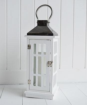 White lantern with gun metal funnel