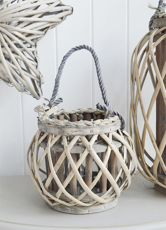 Grey willow lanterns for coastal country and New England interiors for bedroom furniture
