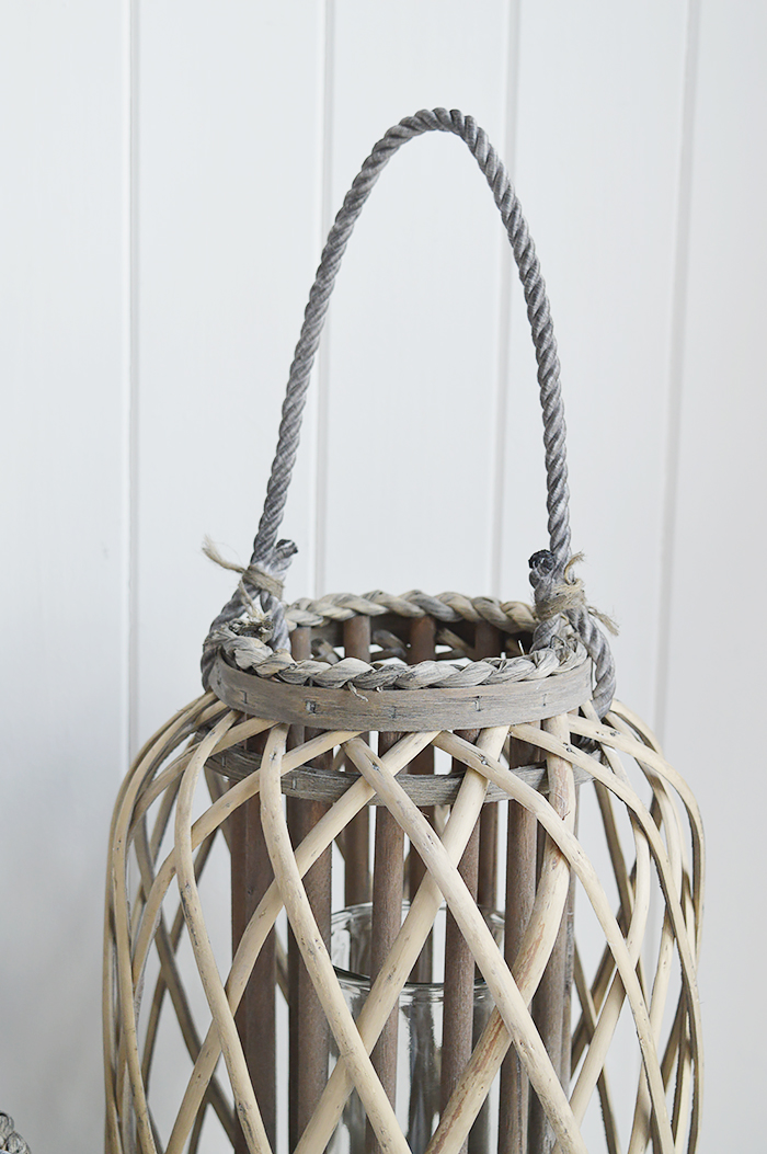 Grey willow lanterns for coastal country and New England interiors for living room
