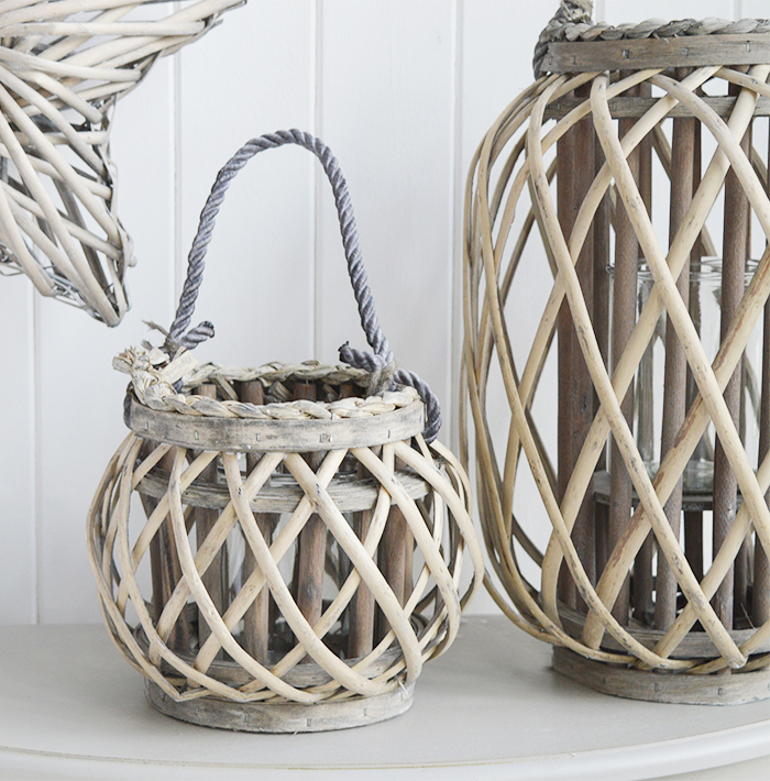 Grey willow lanterns for coastal country and New England interiors and beautiful homes